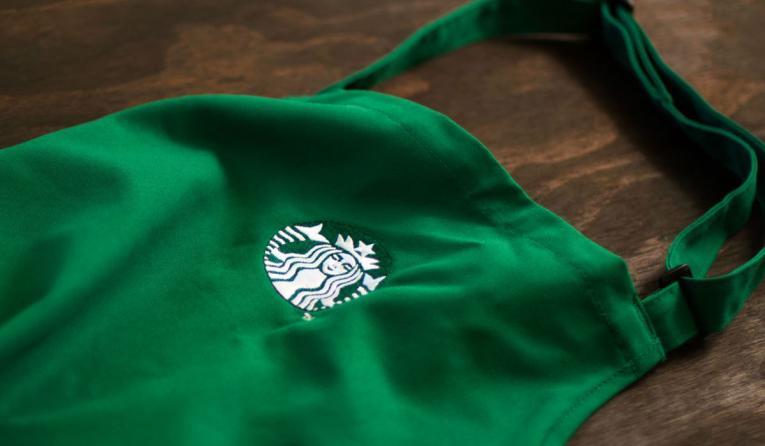 A green Starbucks apron.