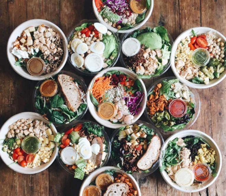 A lineup of bowls from fast casual restaurant Sweetgreen.