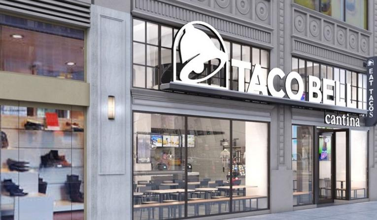 A rendering of the outside of a New York City Taco Bell.