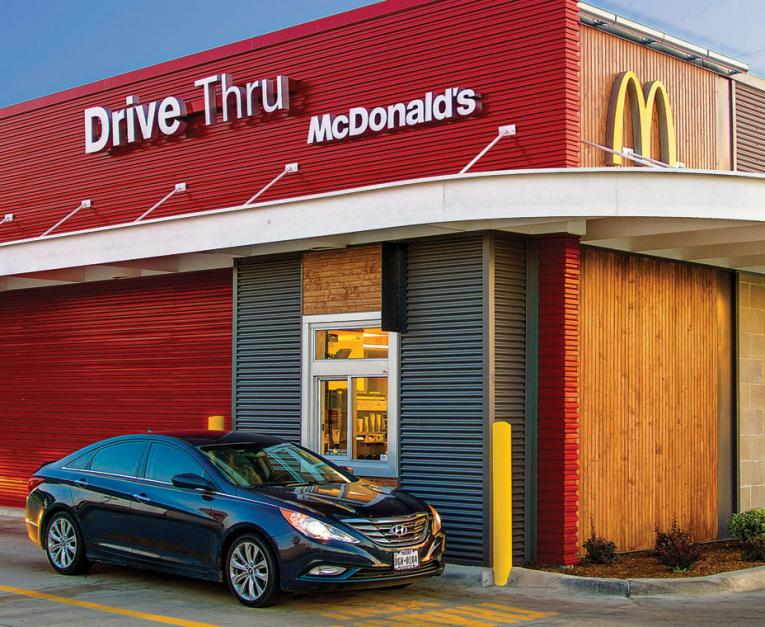 A McDonald's restaurant is seen with its drive thru. The restaurant is hoping to add recycling at all locations.