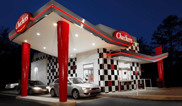 A Checkers restaurant from the outside.