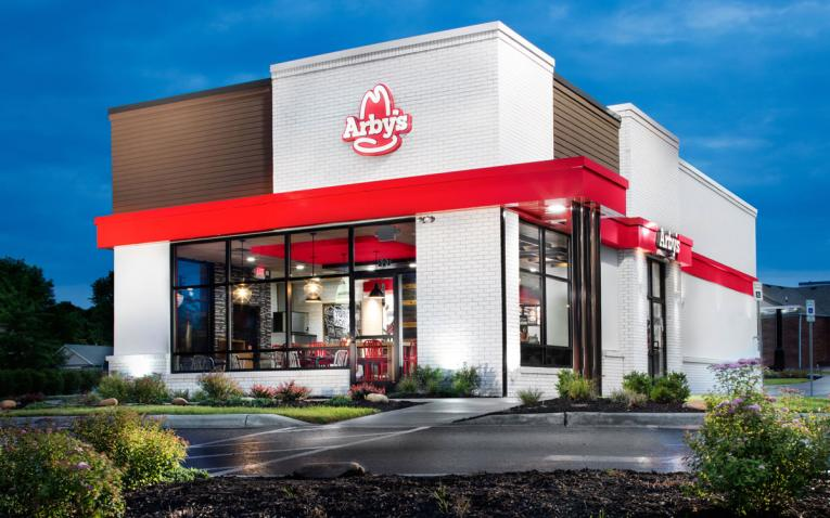 Arby's new restuarant design showcases the famouse logo over a red exterior.