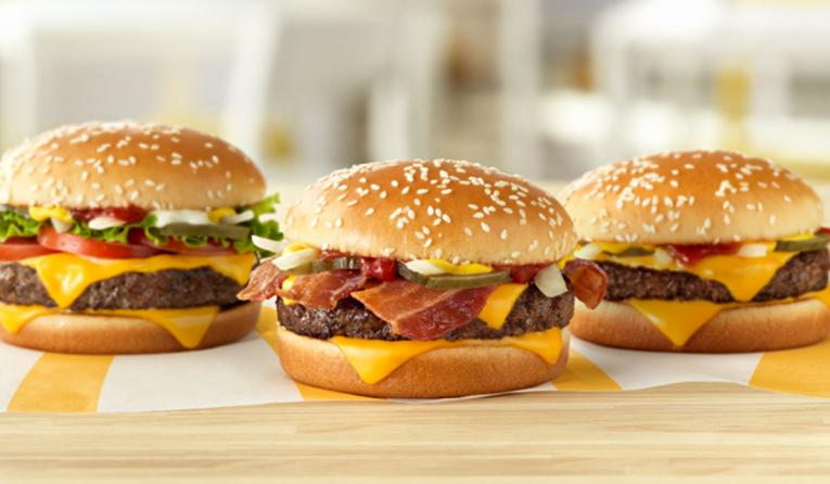 A trio of Whoppers at McDonald's.