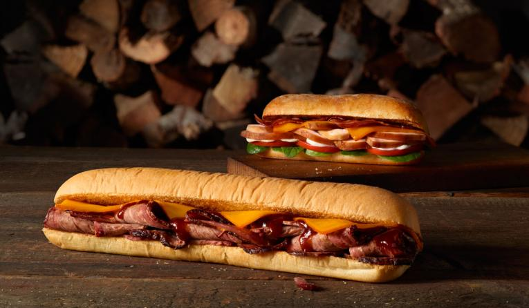 Pit-smoked meat sandwiches at Subway.