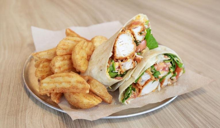 A wrap and fries at Wing Zone.