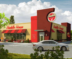 A rendering of the new Huddle House prototype shows the Huddle Thru positioned a