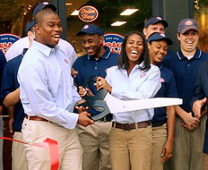 Former NFL linebacker Angelo Crowell and his wife own three Jersey Mike's units.