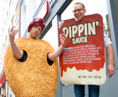 Celebrity chef Jamie Oliver and Chipotle CEO Steve Ells dress as processed foods