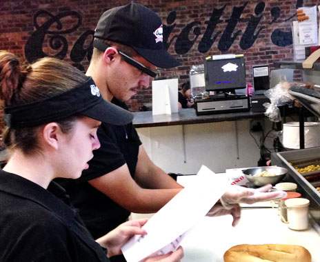 Fast food operators use Google Glass product to train kitchen employees.