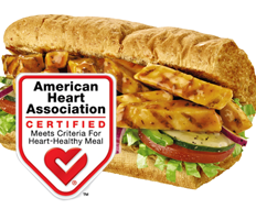 Subway's menu now features the American Heart Association's heart check.