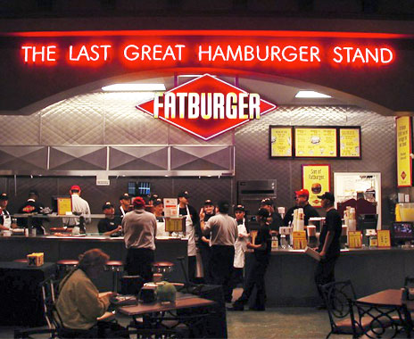 Fatburger quick service chain adapted sister brand in cobranded location.