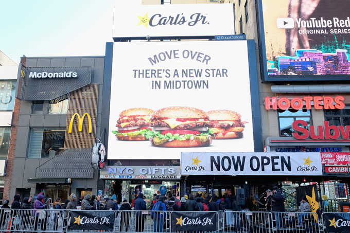 Carl's Jr. opened its first Manhattan store.
