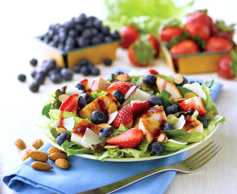 Menu items like Wendy's Berry Almond Chicken Salad use popular buzzwords.
