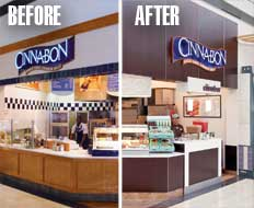 Cinnabon revamped its store model to modernize its business offering.