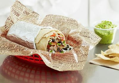 Chipotle burrito in a red basket.