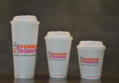 Dunkin' Donuts new double-walled paper cups are made with paperboard certified to the Sustainable Forestry Initiative Standard.