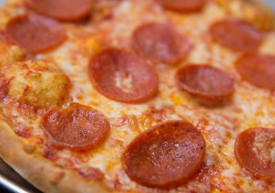 Pepperoni pizza at Firenza Pizza restaurant.