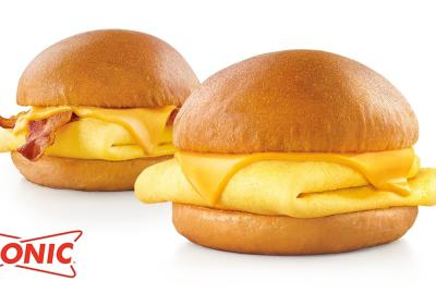 Starting at just 250 calories, the Egg and Cheese Breakfast Slinger is topped with melty cheese over fluffy eggs between a buttery, bakery-quality brioche bun.