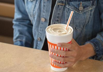 The Salted Caramel Shake, with rich, creamy caramel flavors and a hint of salt.