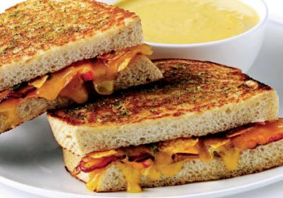 Fast food sandwich brand offers indulgent grilled cheese menu options.