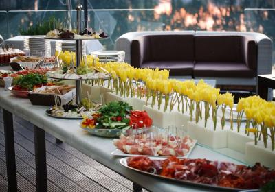 A buffet line of food for restaurant catering.