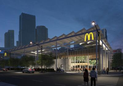 McDonald's new 19,000 square foot restaurant is designed by Chicago-based Ross Barney Architects and will be constructed of steel and wood timber.