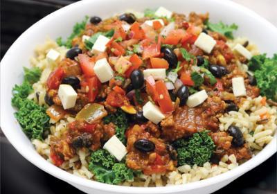 New York City fresh food chain plates veggie and tofu menu item.