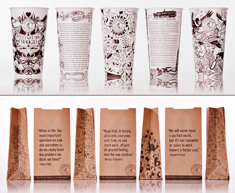 Fast food restaurant Chipotle labels packaging with creative content.